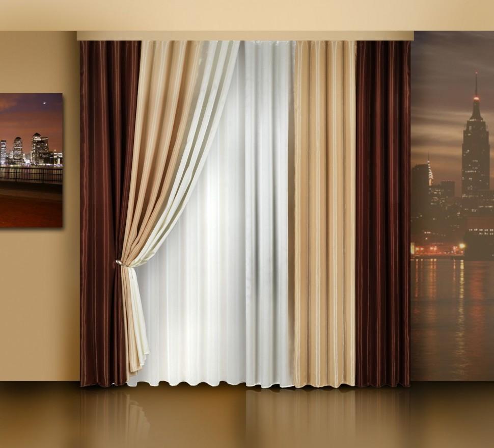 Коричневые шторы для гостиной фото